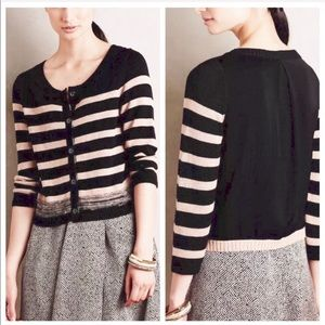 Anthropologie Striped Button Front Sweater Top